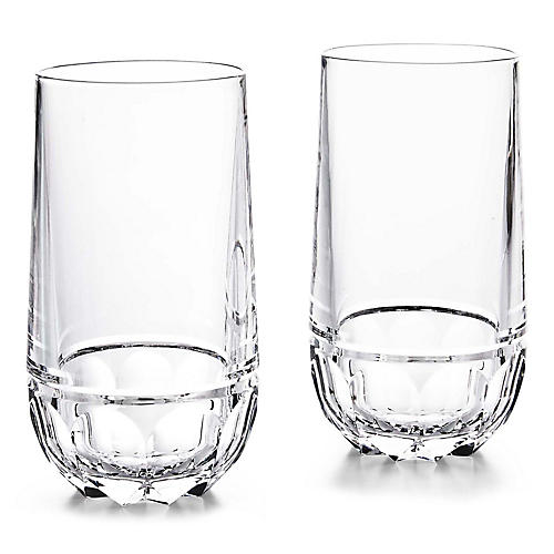S/2 Monroe Highball Glasses, Clear