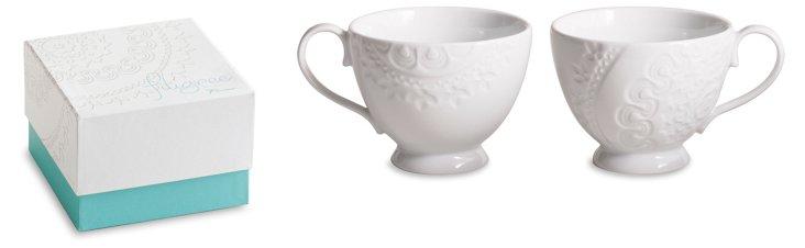 S/2 Filigree Mugs