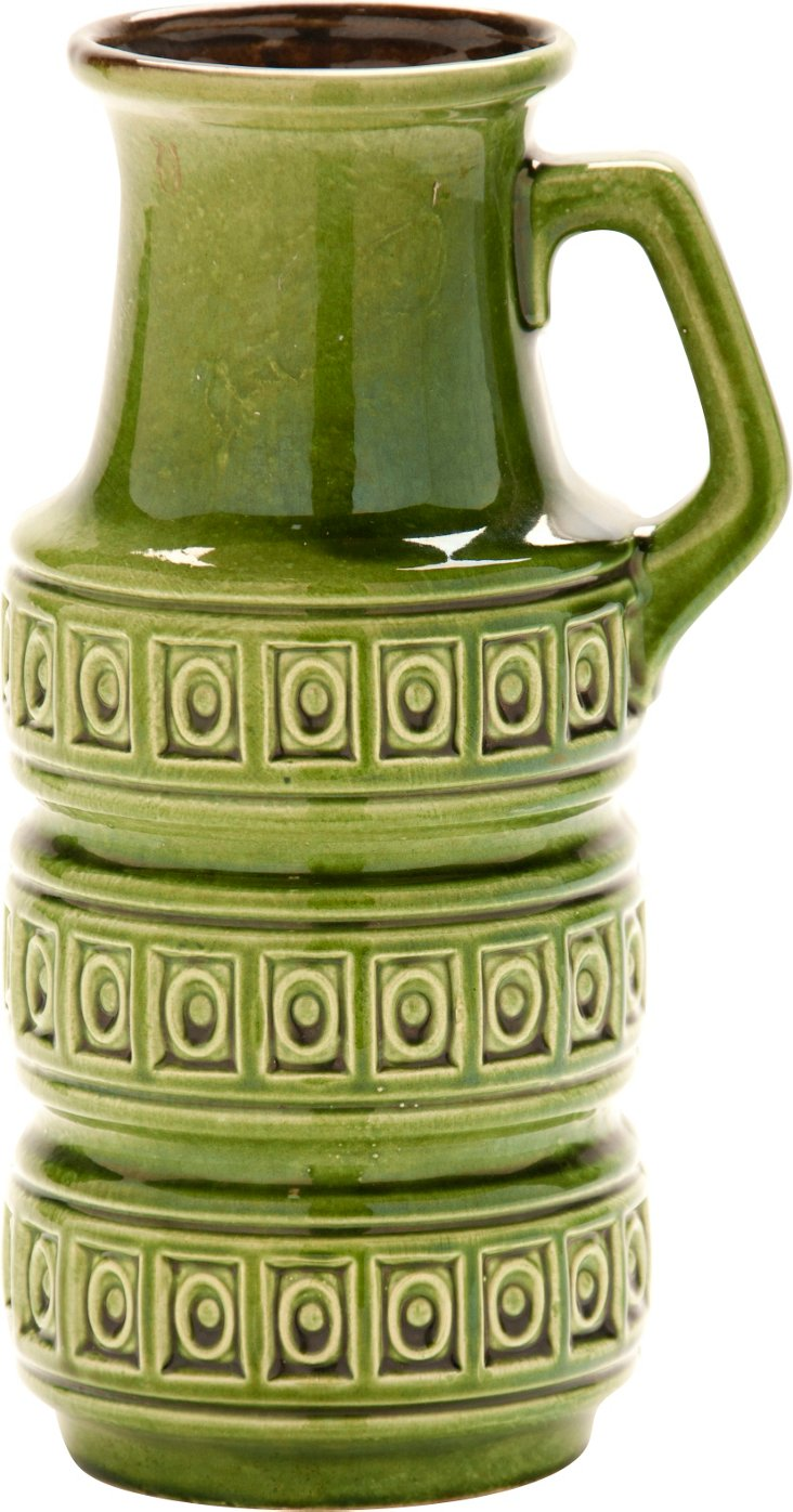 West German Handled Vase, Green