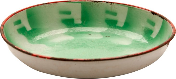 Green & White Enamel Bowl