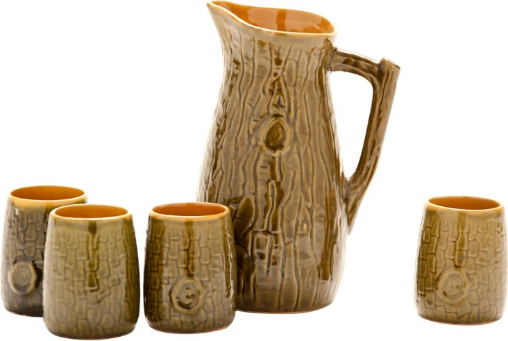 Faux-Bois Pitcher & Cups, S/5