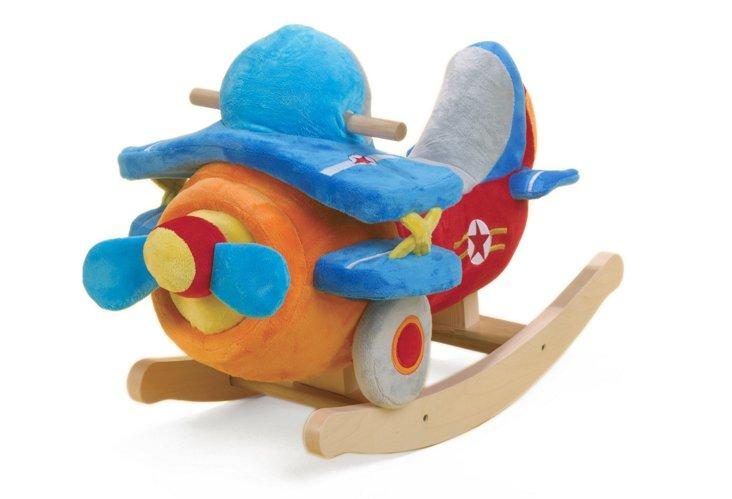 Biplane Airplane Rocker, Orange/Multi