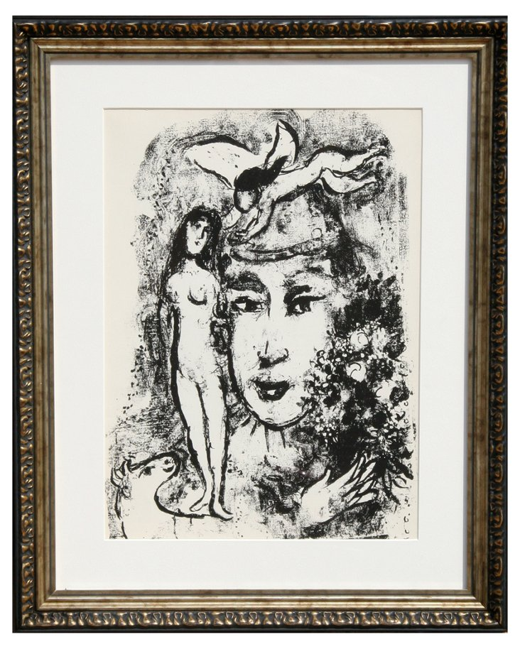 Chagall, Clown Blanc, Framed Lithograph