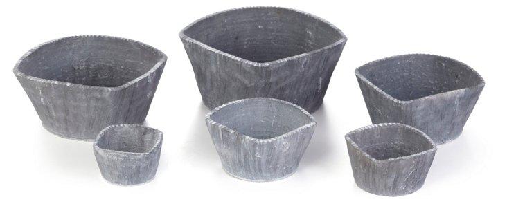 S/6 Vesuvio Striated Square Pots