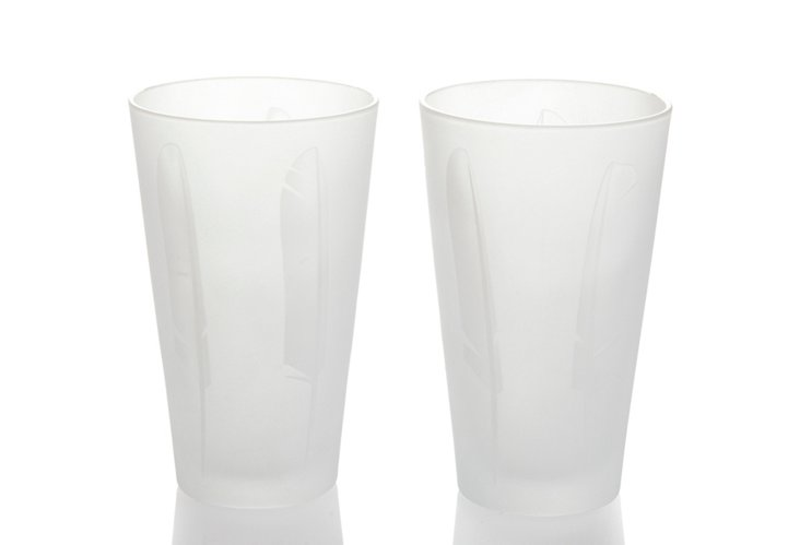 S/2 White Feather Glasses, Tall