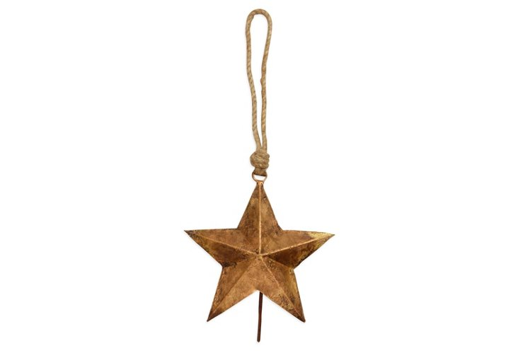 S/2 Brass Star Bell Ornaments