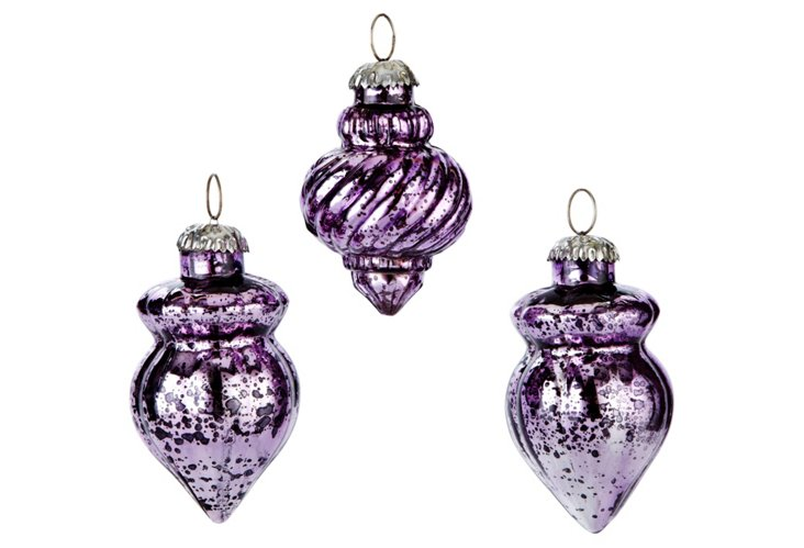 S/6 Mercury Glass Ornaments, Amethyst