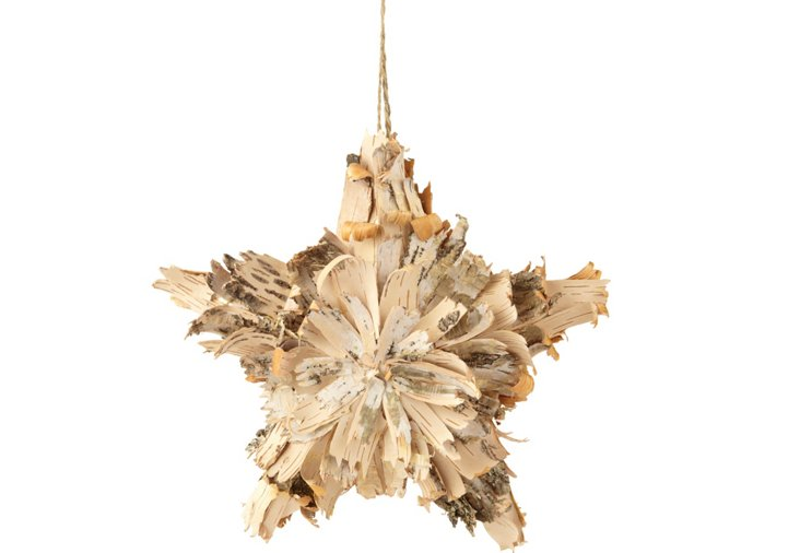 S/2 Birch Bark Star Ornaments, Large