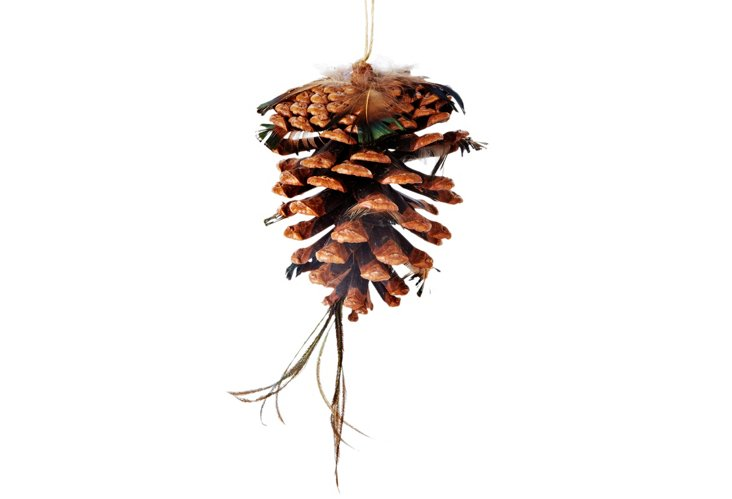 S/6 Large Pinecone/Feather Ornaments