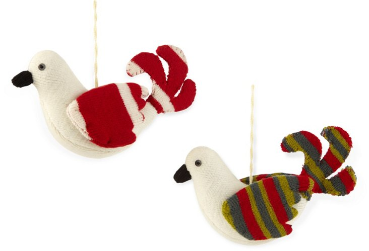 Striped Dove Ornaments, Asst. of 2