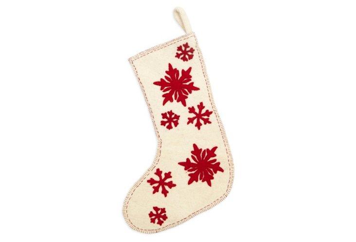 White Snowflake Stocking w/ Red Cutout