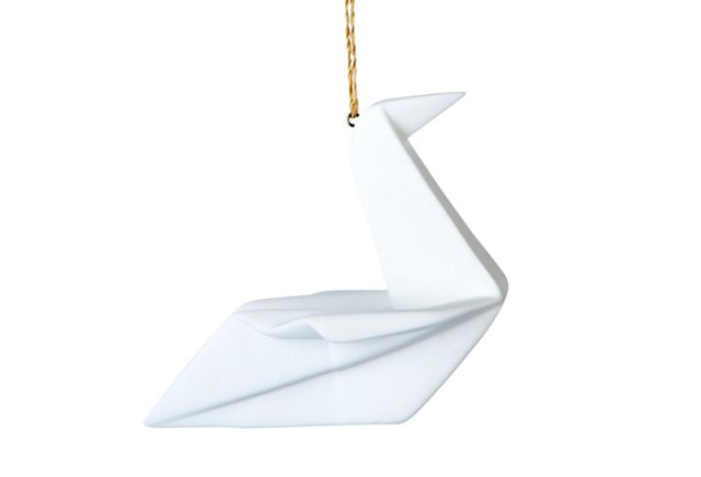 S/2 Porcelain Origami Geese Ornaments