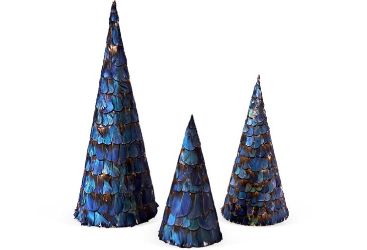 S/3 Feather Trees, Dark Blue