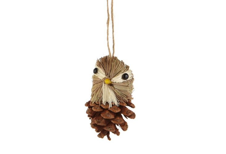 S/6 Pinecone Bird Ornaments