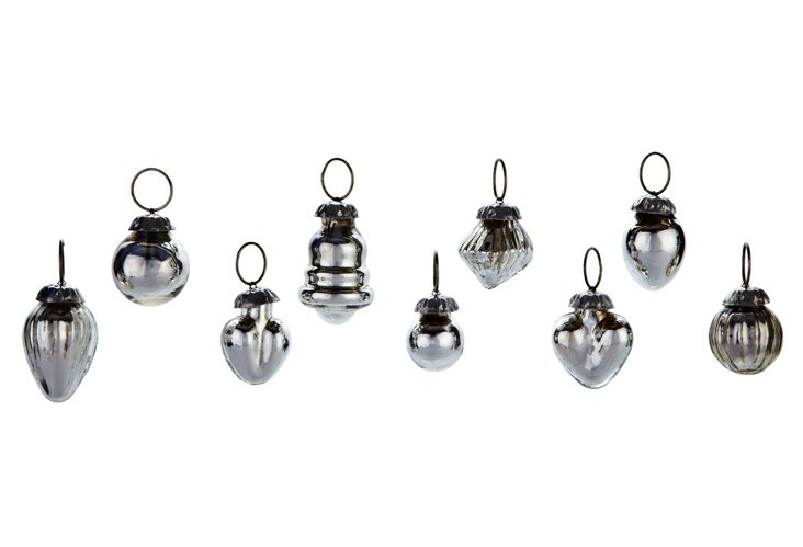 S/9 Mercury Glass Ornaments, Mini