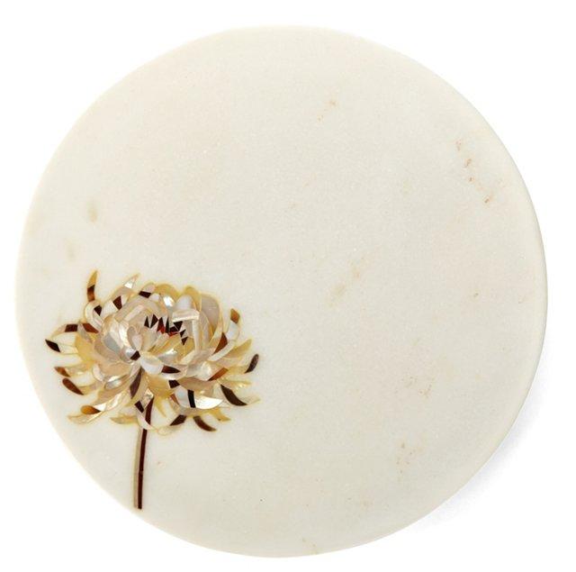 "8"" Chrysanthemum Marble Plate"