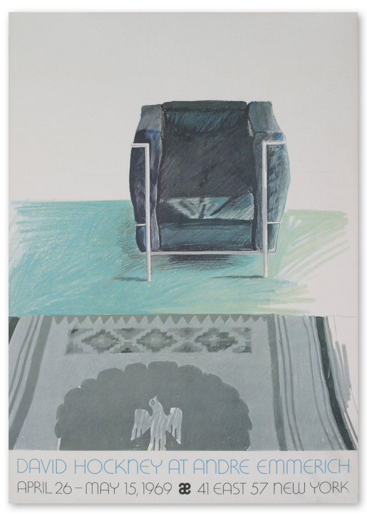Hockney, Corbusier Chair and Rug