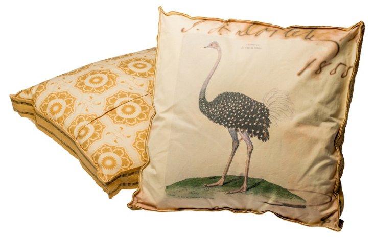 Umber Ostrich Floor Pillow