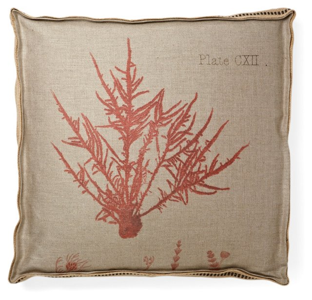 Fiji Coral 2 22x22 Pillow, Red