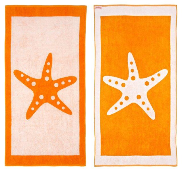 Starfish Beach Towel, White/Orange