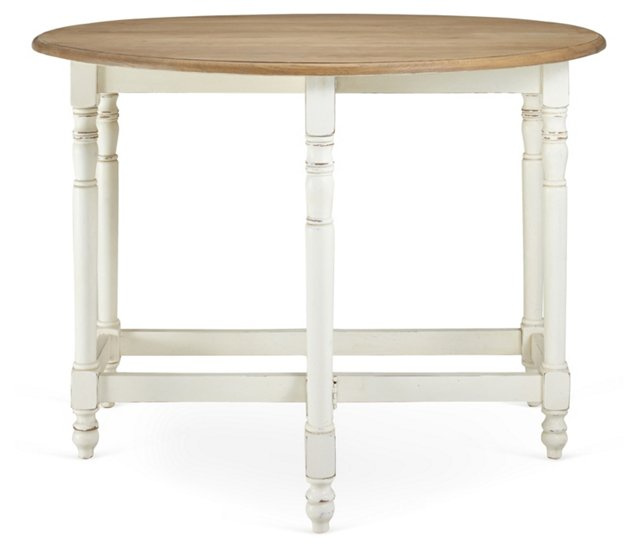 Lila Dining Table, White/Natural