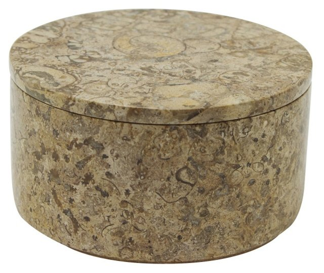 "4"" Round Fossil Stone Box, Brown"
