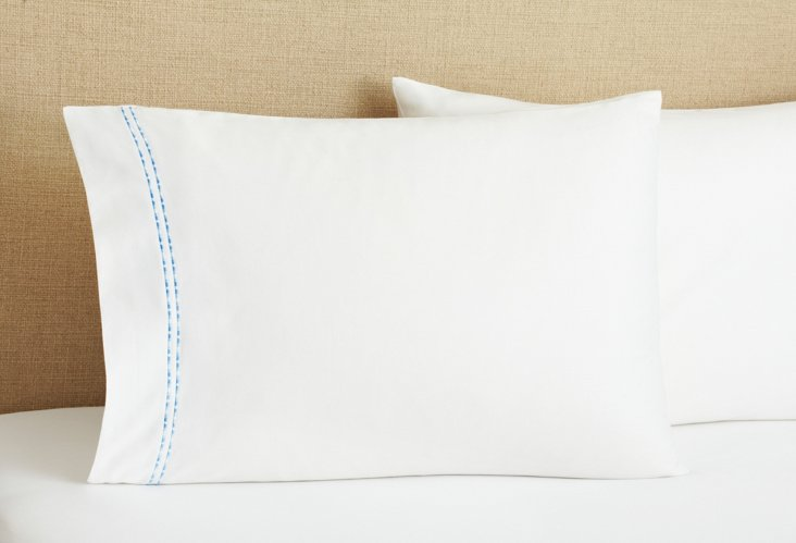 S/2 Fancy Stripe Pillowcases, Blue