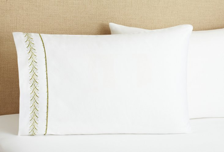 S/2 Fern Pillowcases, Green