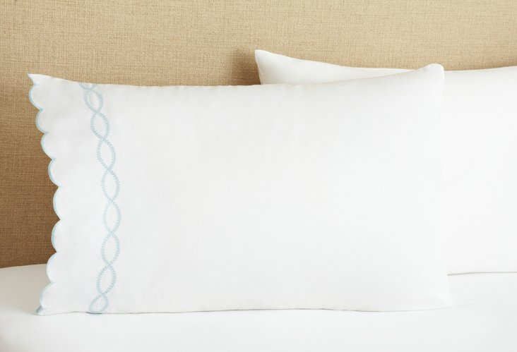S/2 Scallop & Garland Pillowcases, Blue