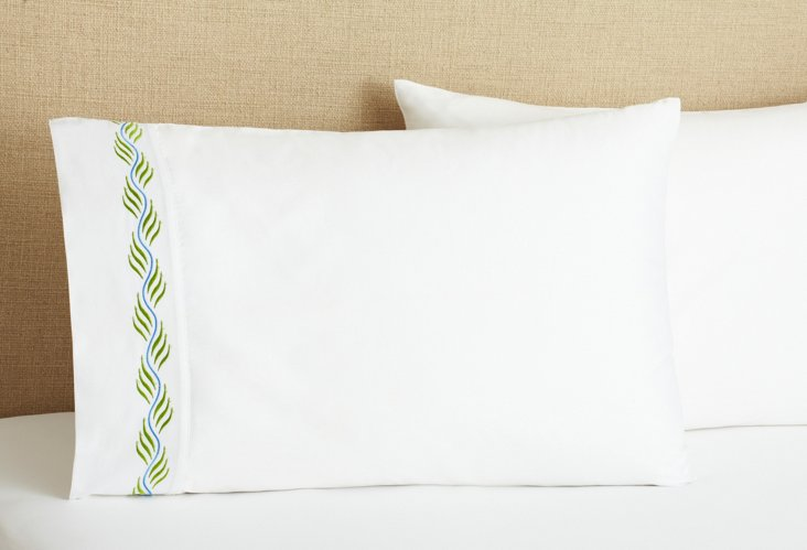 S/2 Ribbon Pillowcases, Green