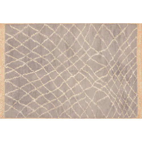 "6'6""x9'3"" Rehena Hand-Knotted Rug, Blue/Gray"
