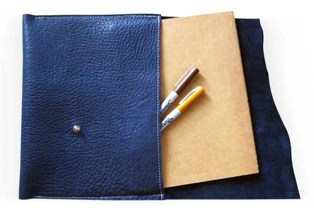 Leather iPad Cover, Indigo Blue