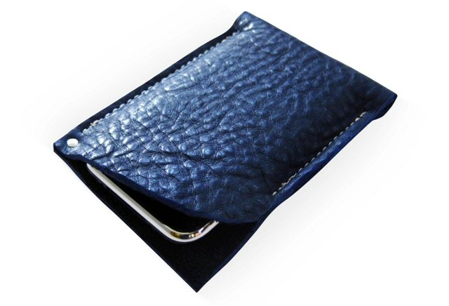 Leather iPhone5 Sleeve, Indigo Blue