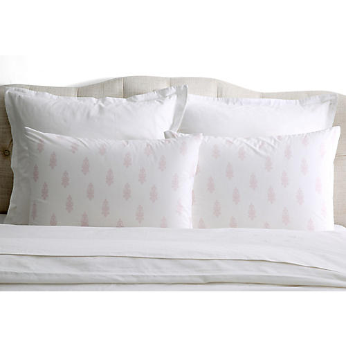 S/2 Chandelier Crest Pillowcases, Pink