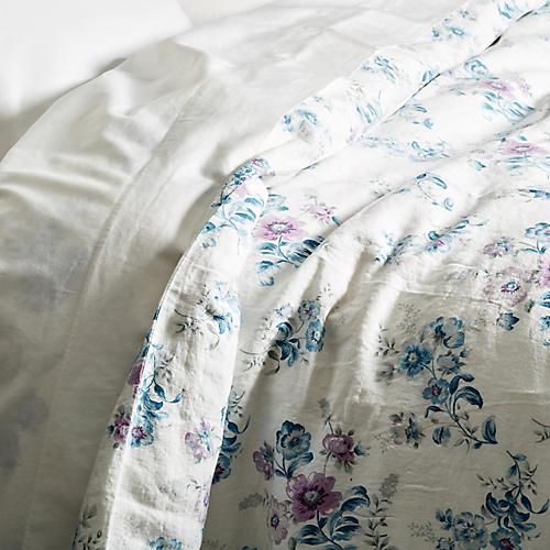 Paradise Floral Duvet, Lilac/Blue