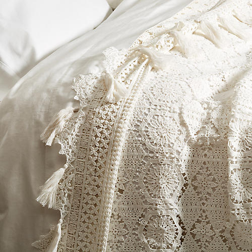 Cluny Lace Coverlet, White