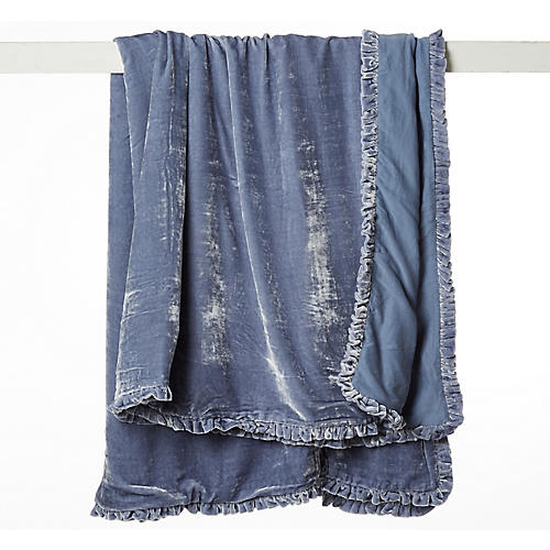 Rachel Velvet Throw, Indigo