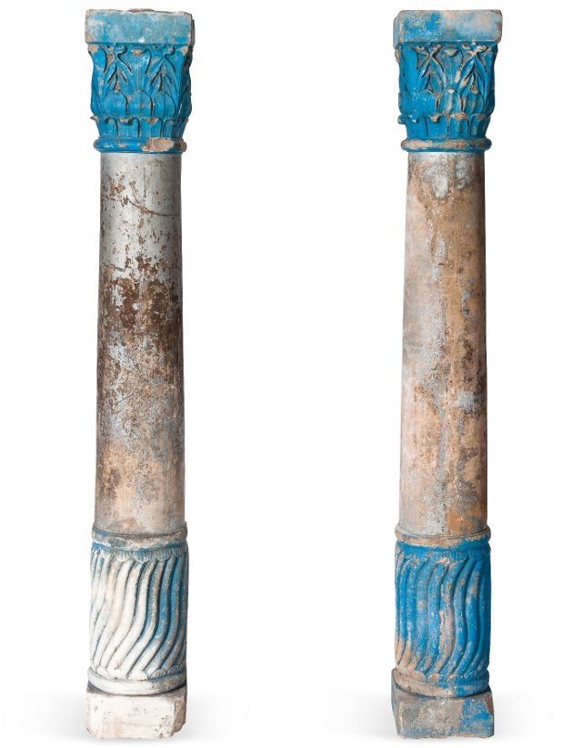 Silver & Blue Columns, Pair