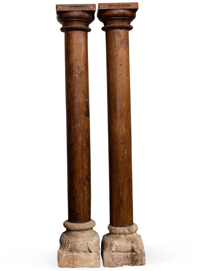Rich Wood Columns, Pair