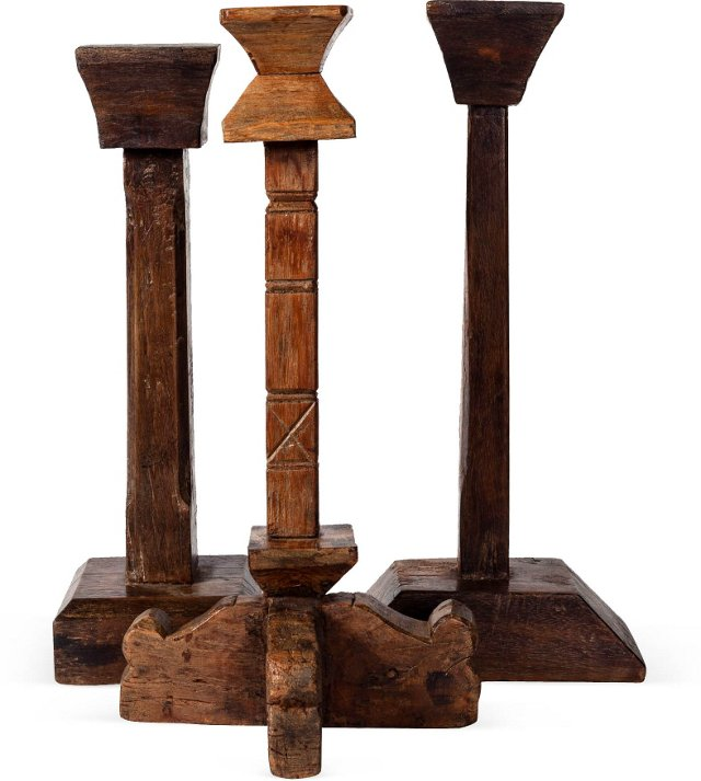 19th-C. Oil Lamp Stands, Set of 3 II