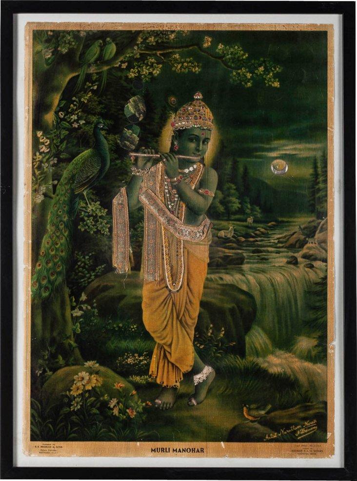 Krishna Print w/ Rhinestone Inlay