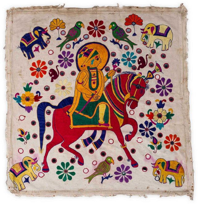 1940s Embroidered Chakla Textile