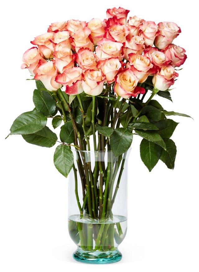 50 Premium Long-Stem Roses, Red/White