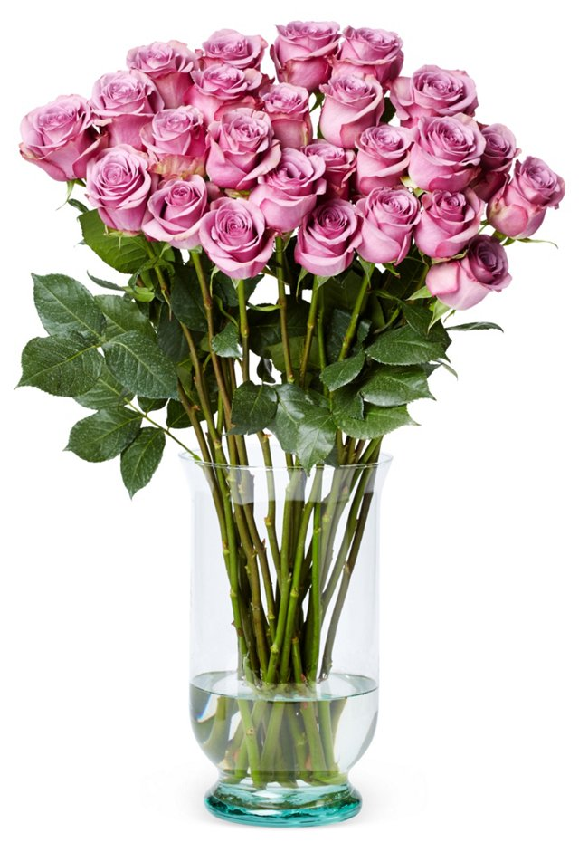 50 Premium Long-Stem Roses, Purple