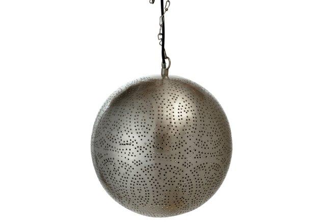 Moroccan Hanging Lamp, Silver