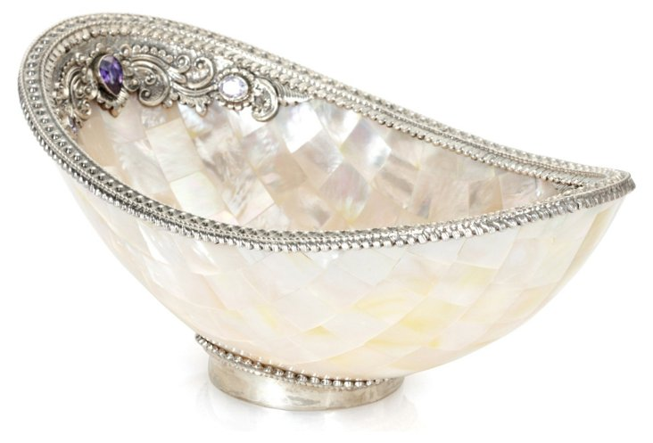 Mother-of-Pearl Shell Bowl w/ Sterling
