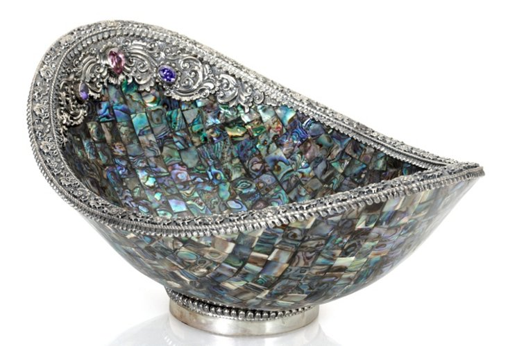 """10"""" Oval Abalone Bowl w/ Sterling Silver"""