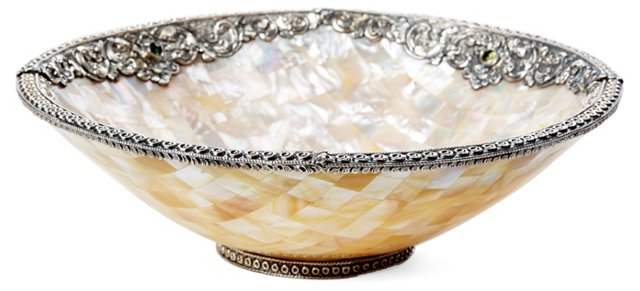 Round Mother-of-Pearl Bowl w/ Gemstone