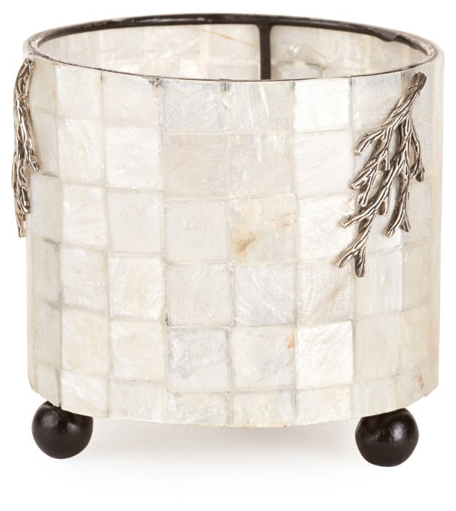 MOP & Sterling Silver Round Candleholder