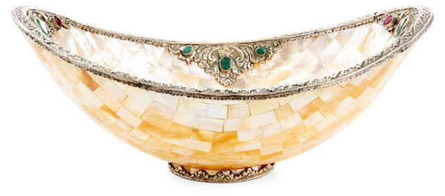 Mother-of-Pearl, Silver & Gemstone Bowl